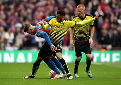 Etienne Capoue of Watford tackles Connor Wickham of Crystal Palace - Mandatory by-line: Robbie Stephenson/JMP - 24/04/2016 - FOOTBALL - Wembley Stadium - London, England - Crystal Palace v Watford - The Emirates FA Cup Semi-Final