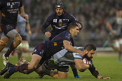 December 8, 2018 - Galway, Ireland - Peter McCabe of Connacht tackled by Sadek Deghmache of Perpignan during the European Rugby Challenge Cup between Connacht Rugby and Parpignan at the Sportsground in Galway, Ireland on December 8, 2018  (Credit Image: © Andrew Surma/NurPhoto via ZUMA Press)