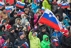 Borut Pahor, president of Slovenia with Slovenian flag during 2nd Run of 10th Men's Giant Slalom race of FIS Alpine Ski World Cup 55th Vitranc Cup 2016, on March 5, 2016 in Kranjska Gora, Slovenia. Photo by Vid Ponikvar / Sportida