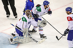 during Ice Hockey match between National Teams of Italy and Slovenia in Round #5 of 2018 IIHF Ice Hockey World Championship Division I Group A, on April 28, 2018 in Arena Laszla Pappa, Budapest, Hungary. Photo by David Balogh / Sportida