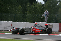 SPA FRANCORCHAMPS, BELGIUM - Sunday, August 30, 2009: Lewis Hamilton (GBR, Vodafone McLaren Mercedes) crashes out during the Belgian Grand Prix at the  Circuit of Spa Francorchamps. (Photo by Juergen Tap/Hochzwei/Propaganda)