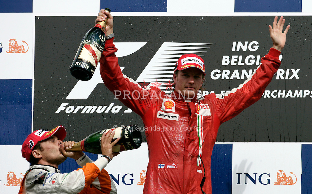 SPA FRANCORCHAMPS, BELGIUM - Sunday, August 30, 2009: Kimi Raeikkoenen (FIN, Scuderia Ferrari Marlboro) celebrates winning during the Belgian Grand Prix at the  Circuit of Spa Francorchamps. (Photo by Juergen Tap/Hochzwei/Propaganda)