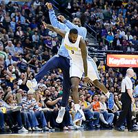 08 April 2016: Denver Nuggets forward Kenneth Faried (35) celebrates with Denver Nuggets forward Will Barton (5) during the Denver Nuggets 102-98 victory over the San Antonio Spurs, at the Pepsi Center, Denver, Colorado, USA.