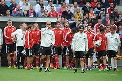 26.06.2013, Allianz Arena, Muenchen, GER, 1. FBL, FC Bayern Muenchen Training, im Bild, Trainer Pep Guardiola (FC Bayern Muenchen) betritt als neuer Bayern-Trainer den Rasen der Allianz Arena // during a Trainingsession of German Bundesliga Club FC Bayern Munich at the Allianz Arena, Munich, Germany on 2013/06/26. EXPA Pictures © 2013, PhotoCredit: EXPA/ Eibner/ Wolfgang Stuetzle<br /> <br /> ***** ATTENTION - OUT OF GER *****