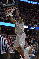 Ohio State center Dallas Lauderdale  (52) put down a two-handed slam in OSU's 98-66 win against George Mason in the third round of the NCAA Tournament on March 20, 2011, in Cleveland.