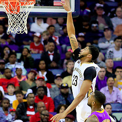 Nov 12, 2016; New Orleans, LA, USA;  New Orleans Pelicans forward Anthony Davis (23) shoots over Los Angeles Lakers forward Thomas Robinson (15) during the first half of a game at the Smoothie King Center. Mandatory Credit: Derick E. Hingle-USA TODAY Sports