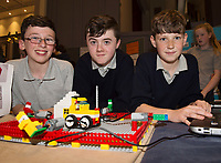 (Raheen NS) Scoil Naomh Cuan's Caomhan Campbell, Cian Whelan and Cian Treacy  with one of their projects at the Jnr Lego League organized through schools by the Galway Education Centre at The Radisson blu hotel<br />  Photo: Andrew Downes,  xposure