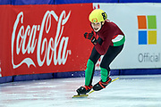 Graz, Austria - 2017 March 22: Zsombor Bohn from Hungary competes in Speed Skating 222 meters race while Special Olympics World Winter Games Austria 2017 at Icestadium Graz Liebenau on March 22, 2017 in Graz, Austria.<br /> <br /> Mandatory credit:<br /> Photo by &copy; Adam Nurkiewicz / Mediasport<br /> <br /> Adam Nurkiewicz declares that he has no rights to the image of people at the photographs of his authorship.<br /> <br /> Picture also available in RAW (NEF) or TIFF format on special request.<br /> <br /> Any editorial, commercial or promotional use requires written permission from the author of image.<br /> <br /> Image can be used in the press when the method of use and the signature does not hurt people on the picture.