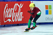 Graz, Austria - 2017 March 22: Zsombor Bohn from Hungary competes in Speed Skating 222 meters race while Special Olympics World Winter Games Austria 2017 at Icestadium Graz Liebenau on March 22, 2017 in Graz, Austria.<br /> <br /> Mandatory credit:<br /> Photo by © Adam Nurkiewicz / Mediasport<br /> <br /> Adam Nurkiewicz declares that he has no rights to the image of people at the photographs of his authorship.<br /> <br /> Picture also available in RAW (NEF) or TIFF format on special request.<br /> <br /> Any editorial, commercial or promotional use requires written permission from the author of image.<br /> <br /> Image can be used in the press when the method of use and the signature does not hurt people on the picture.