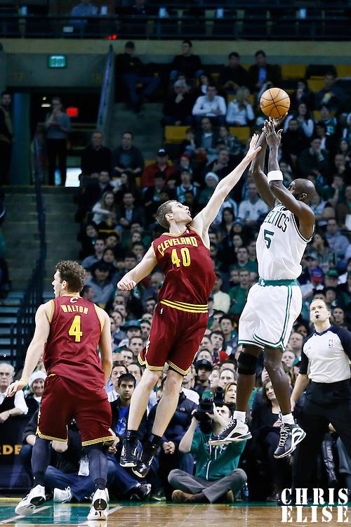 19 December 2012: Boston Celtics power forward Kevin Garnett (5) takes a jumpshot over Cleveland Cavaliers center Tyler Zeller (40) during the Boston Celtics 103-91 victory over the Cleveland Cavaliers at the TD Garden, Boston, Massachusetts, USA.