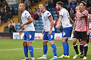 Bury Forward, James Vaughan, Bury Defender and Summer Signing, Joe Skarz and Bury Defender, Eoghan OConnell during the Pre-Season Friendly match between Bury and Sunderland at the JD Stadium, Bury, England on 7 July 2017. Photo by Mark Pollitt.