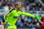 Jonas Lossl (#1) of Huddersfield Town issues instructions at a corner during the Premier League match between Newcastle United and Huddersfield Town at St. James's Park, Newcastle, England on 31 March 2018. Picture by Craig Doyle.