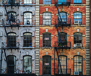 Fire escapes on Duane Street in New York City