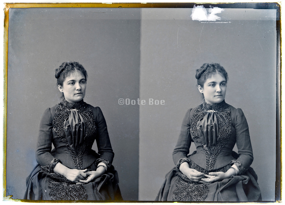 two exposure studio portrait  of woman on a glass plate France 1900s