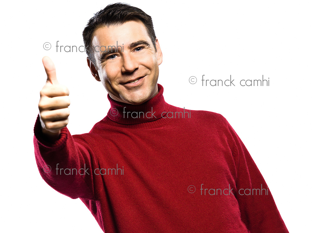 caucasian man  thumb up  gesture studio portrait on isolated white backgound