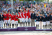 Podium Nations Cup 1. Belgie, 2. Duitsland, 3. Groot-Brittannië<br /> FEI European Championships 2019<br /> © DigiShots