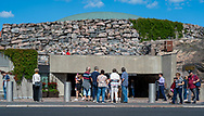 Helsinki, Finland -- July 19, 2019. Photo of tourists waiting to enter the Rock Church in Helsinki, Finland.
