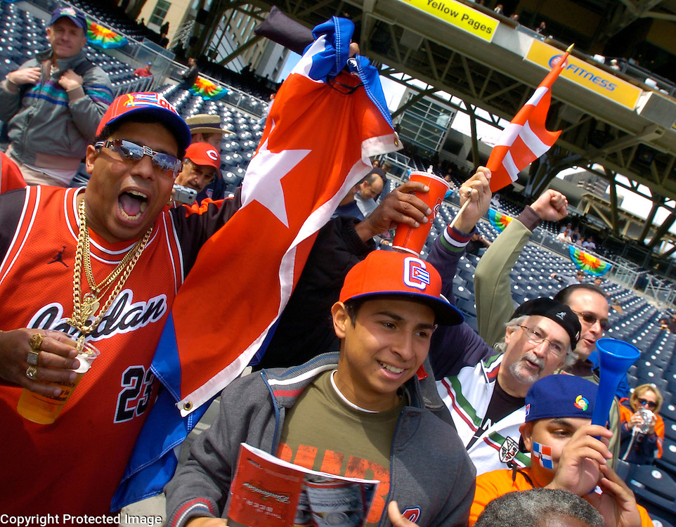 Cuban fans show their support before the start of the game against Dominican Republuc in Semi-Final action of the World Baseball Classic at PETCO Park, San Diego, CA.