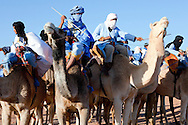 Group of nomads on dromedaries against clear blue sky in the Sahara desert of Morocco.