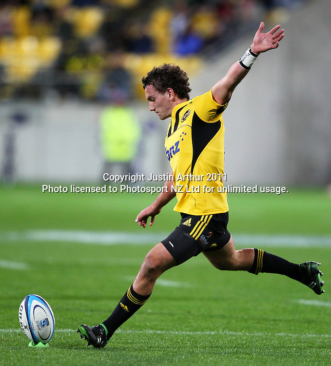 Aaron Cruden.Investec Super 15 rugby match - Hurricanes v Lions, at Westpac Stadium, Wellington, New Zealand on Saturday 4 June 2011. Photo: Justin Arthur / photosport.co.nz