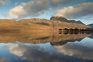 Winter reflections on Loch Maree, Wester Ross, Scotland.