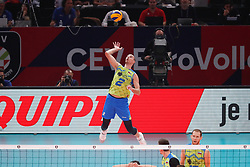 PARIS, FRANCE - SEPTEMBER 29: Alen Pajenk #2 of Slovenia serves the ball during the EuroVolley 2019 Final match between Serbia and Slovenia at AccorHotels Arena on September 29, 2019 in Paris, France. Photo by Catherine Steenkeste / Sipa / Sportida