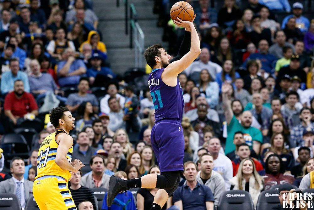 04 March 2017: Charlotte Hornets guard Marco Belinelli (21) takes a jump shot past Denver Nuggets guard Jamal Murray (27) during the Charlotte Hornets 112-102 victory over the Denver Nuggets, at the Pepsi Center, Denver, Colorado, USA.