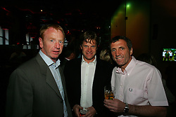 LIVERPOOL, ENGLAND - WEDNESDAY, JUNE 9th, 2005: Anders Borg (C) with Liverpool Legends David Fairclough (L) and Alan Kennedy (R) with Tournament Director Anders Borg at the Players Party at the St Thomas Hotel during the 4th Liverbird Developments Liverpool International Tennis Tournament. (Pic by Dave Rawcliffe/Propaganda)