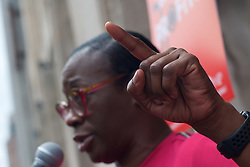 Bernie2020 campaign co-chair Sen. Nina Turner speaks during a rally with, hospital workers, union members and local politicians outside Hahnemann University Hospital at a rally outside the Center City facilities in Philadelphia, PA on July 11, 2019. The struggling Center City located hospital announced it will seize operations and is facing out critical services like Emergency access and the maternity ward unless support is found to end the financial turmoil