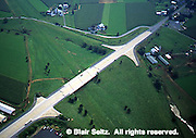 Lancaster Co. aerial photographs, highway blocked in Amish area Aerial Photograph Pennsylvania