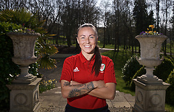 CARDIFF, WALES - Monday, April 1, 2019: Wales' Natasha Harding poses for a portrait during a media session at the Vale Resort ahead of a friendly against the Czech Republic. (Pic by David Rawcliffe/Propaganda)