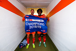 Harry Cornick and Pelly Ruddock are all smiles as Luton Town celebrate winning the league and securing automatic promotion from Sky Bet League 1 to the Sky Bet Championship - Rogan/JMP - 04/05/2019 - Kenilworth Road - Luton, England - Luton Town v Oxford United - Sky Bet League One.