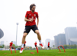 NANNING, CHINA - Saturday, March 24, 2018: Wales' Joe Allen during a training session at the Guangxi Sports Centre ahead of the 2018 Gree China Cup International Football Championship final match against Uruguay. (Pic by David Rawcliffe/Propaganda)