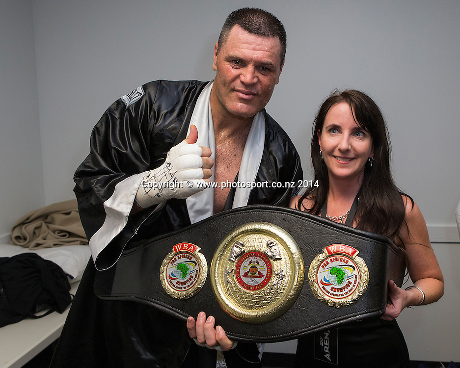 Kali `Mean Hands` Meehan (L)  in the dressing room after defeating Shane `The Mountain Warrior` Cameron in the  Mahindra Super 8 Fight Night, North Shore Events Centre, Auckland, New Zealand, Sunday, November 23, 2014. Photo: David Rowland/Photosport