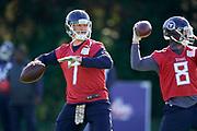 Blaine Gabbert QB (7) throws the ball during the Tennessee Titans pre-match press conference at Syon House, Brentford, United Kingdom on 19 October 2018.