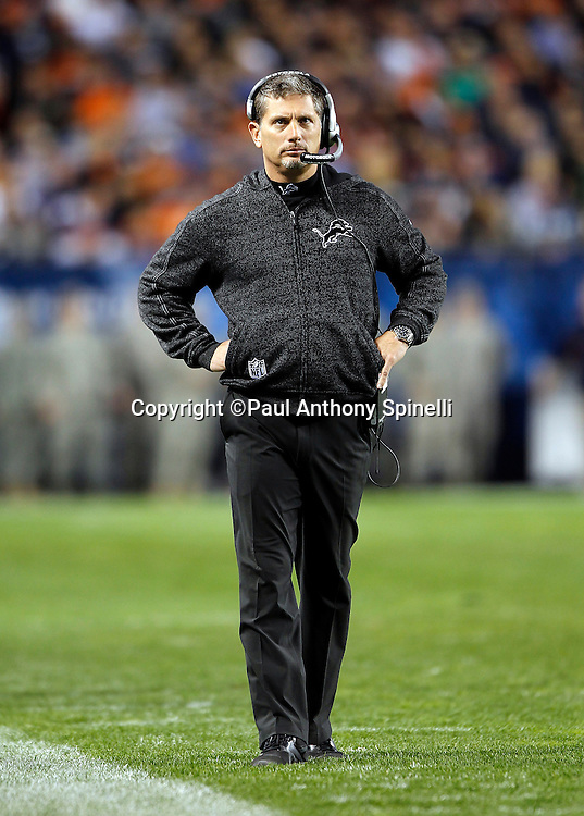 Detroit Lions head coach Jim Schwartz looks on during the NFL week 10 football game against the Chicago Bears on Sunday, November 13, 2011 in Chicago, Illinois. The Bears won the game 37-13. ©Paul Anthony Spinelli