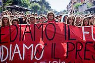 """Roma 2 Ottobre 2015<br /> Centinaia di studenti sono scesi in piazza a Roma per protestare contro la riforma della scuola  """"La buona Scuola"""" del Governo Renzi.<br /> Rome October 2, 2015<br /> Hundreds of students took to the streets in Rome to protest against school reform """"Good School"""" built by Italian Prime Minister Matteo Renzi."""