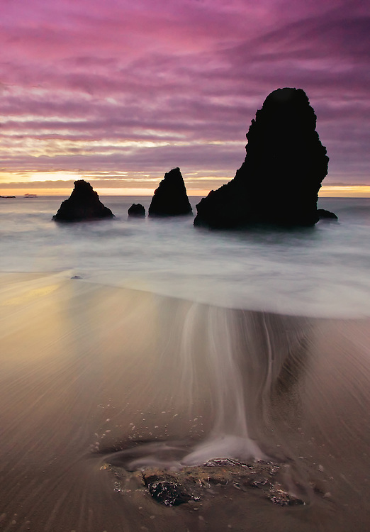 after the sunset this is a long exposure of the sea stacks at rodeo beach, fort baker, sausalito, california