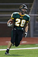 Kennedy's Alexander Hillyer (28) is pumped up after a touchdown run during first quarter of the game between Cedar Rapids Jefferson and Cedar Rapids Kennedy at Kingston Stadium in Cedar Rapids on Friday September 28, 2012. It was 24-0 Kennedy at halftime.
