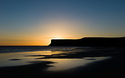 © Licensed to London News Pictures. 14/09/2012..Saltburn, England..Sunrise over Huntcliff, Saltburn..Photo credit : Ian Forsyth/LNP