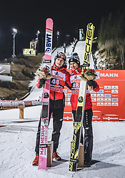 12.01.2019, Stadio del Salto, Predazzo, ITA, FIS Weltcup Skisprung, Val di Fiemme, Herren, Siegerehrung, im Bild 2. Platz Dawid Kubacki (POL), 3. Platz Kamil Stoch (POL) // 2nd placed Dawid Kubacki of Poland Kamil Stoch of Poland during the winner Ceremony for the Four Hills Tournament of FIS Ski Jumping World Cup at the Stadio del Salto in Predazzo, Itali on 2019/01/12. EXPA Pictures © 2019, PhotoCredit: EXPA/ JFK