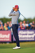 Benjamin Hebert (FRA) watches his putt miss the hole on the 18th green during the play-off of the Aberdeen Standard Investments Scottish Open at The Renaissance Club, North Berwick, Scotland on 14 July 2019.