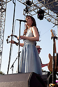 Zooey Deschanel of the band She and Him performs at the 2010 Coachella Music Festival in Indio, CA on Friday, April 16, 2010.