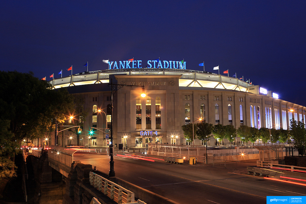 A panoramic view of the Yankees Stadium during a night game between the New York Yankees V Baltimore Orioles Baseball game at Yankee Stadium, The Bronx, New York. 30th April 2012. Photo Tim Clayton