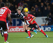 24th November 2017, Dens Park, Dundee, Scotland; Scottish Premier League football, Dundee versus Rangers; Rangers' Candeias and Dundee's Jack Hendry