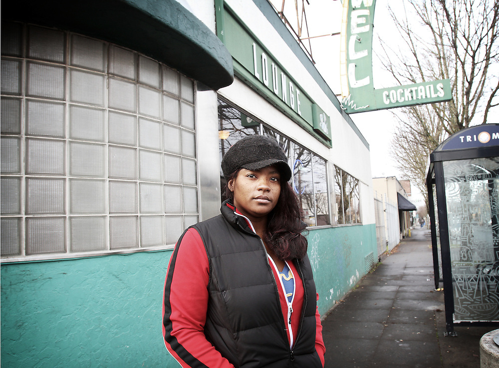 """I'm strong, now. I can do this."" Dawnyell, a recovering crack addict, returns for the first time to the Portland bar where she used to buy hard drugs. Photographed Dec. 18, 2011."