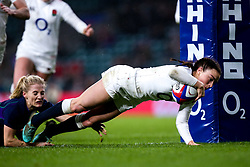 Kelly Smith of England Women scores a try - Mandatory by-line: Robbie Stephenson/JMP - 16/03/2019 - RUGBY - Twickenham Stadium - London, England - England Women v Scotland Women - Women's Six Nations