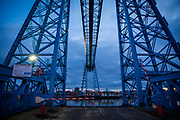 Tees Transporter Bridge crossing the River Tees in Middlesbrough, North Yorkshire, United Kingdom. The bridge has recently become one of the UK's major sites for extreme sports, such as abseiling and bungee jumps.  (photo by Andrew Aitchison / In pictures via Getty Images)