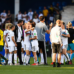 Team of Germany celebrates the victory during the Women's World Cup match between Germany and South Africa at Stade de la Mosson on June 17, 2019 in Montpellier, France. (Photo by Alexandre Dimou/Icon Sport)