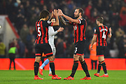 Nathan Ake (5) of AFC Bournemouth celebrates with Steve Cook (3) of AFC Bournemouth at full time after a 2-0 win over West Ham United during the Premier League match between Bournemouth and West Ham United at the Vitality Stadium, Bournemouth, England on 19 January 2019.